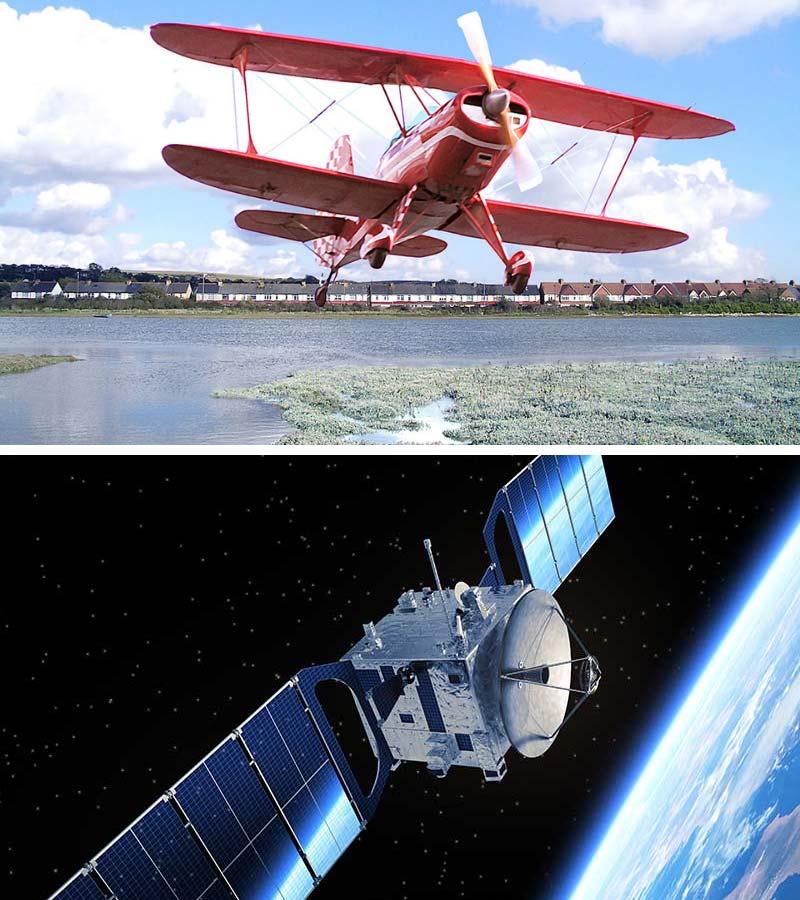 Bi Plane and Satellite